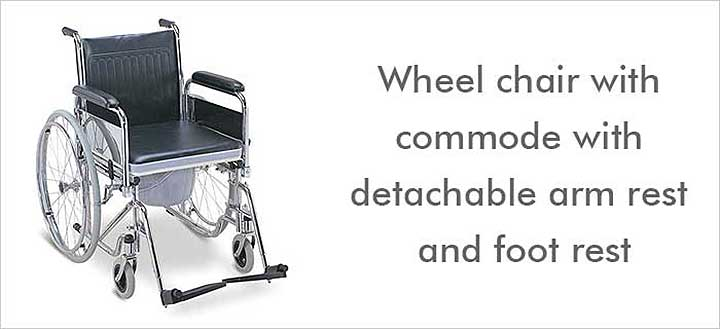 Wheel chair with commode with detachable arm rest and foot rest